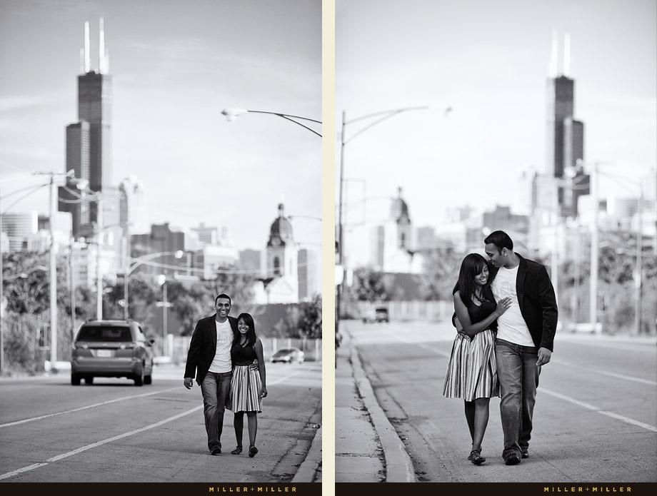 Chicago Engagement Walking Photojournalistic Street