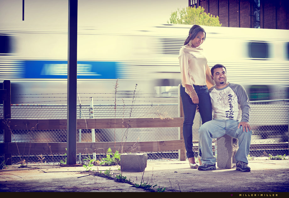 chicago train creative couple portrait city