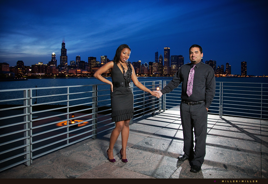 colorful sky chicago skyline engagement session