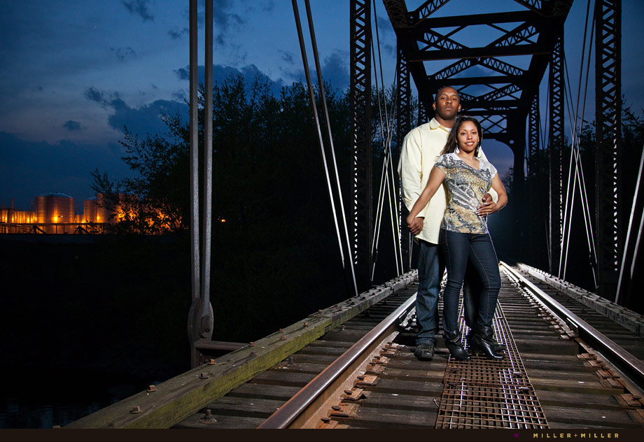 illinois railroad tracks night dramatic engagement images