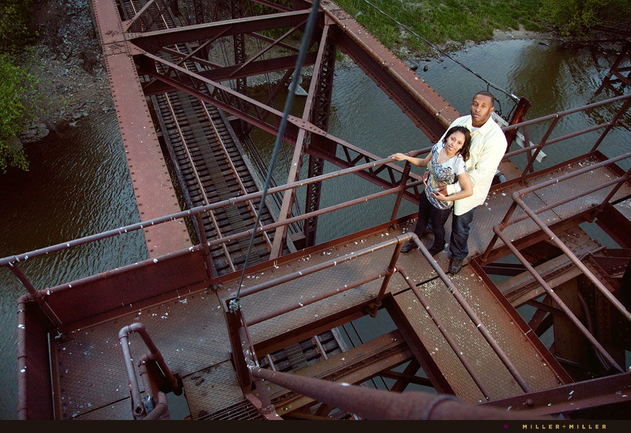 railroad river bridge illinois engaged couple photo