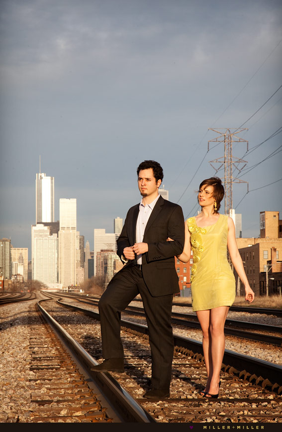 railroad tracks photo shoot chicago loop