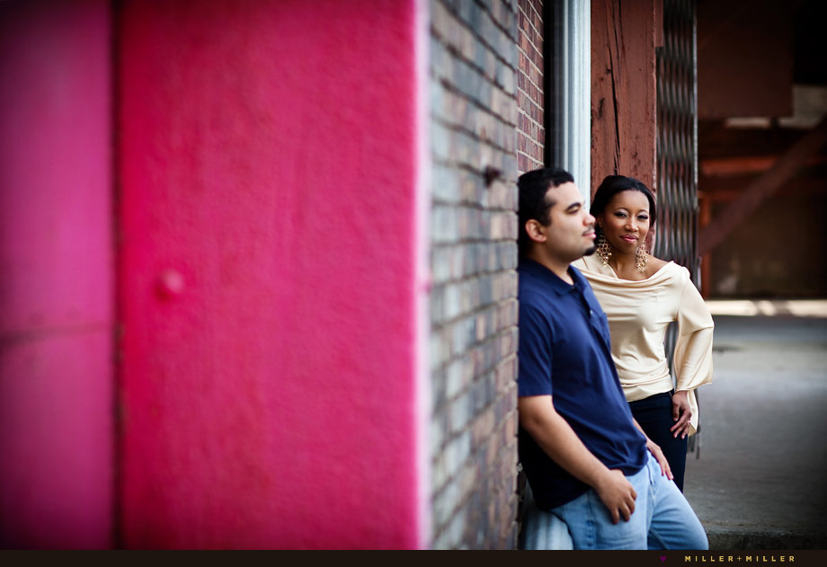 vibrant pink engagement photo streetscape il