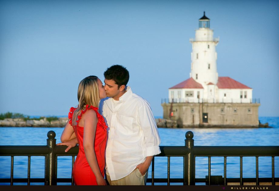 chicago lighthouse engagement kiss image