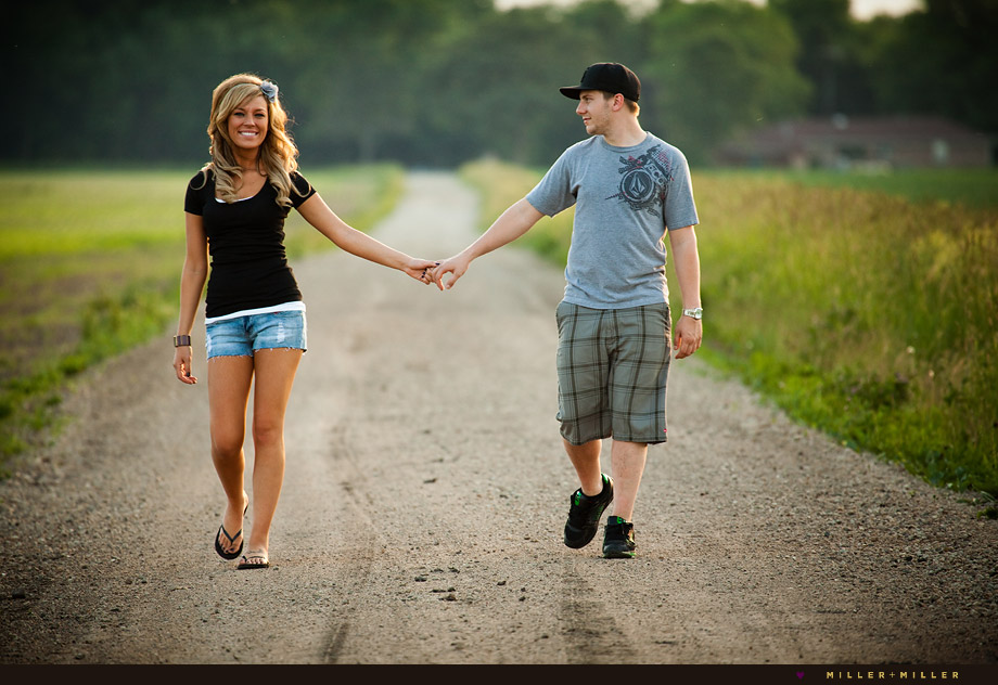 Gravel Road Walking Chicago Suburbs Engagement Photographer