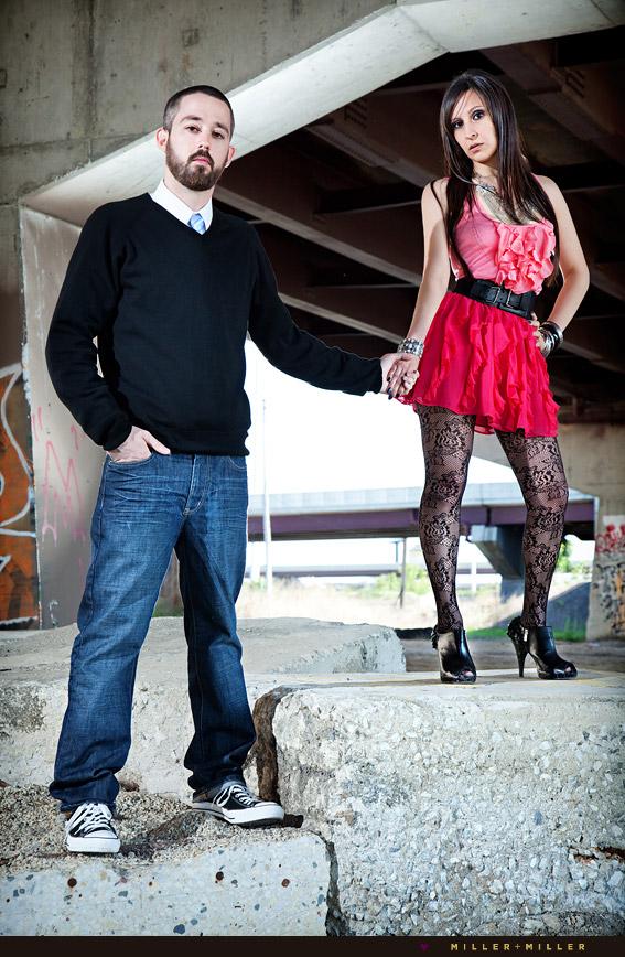 high-fashion engagement couple photos