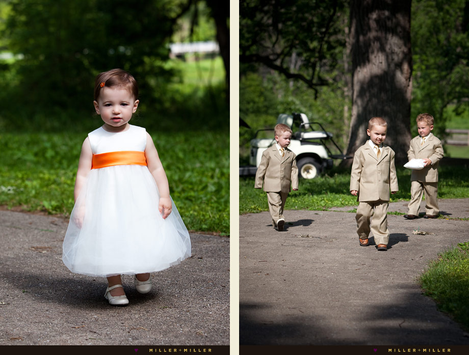 nature wedding ceremony flower girl ring bearer suits