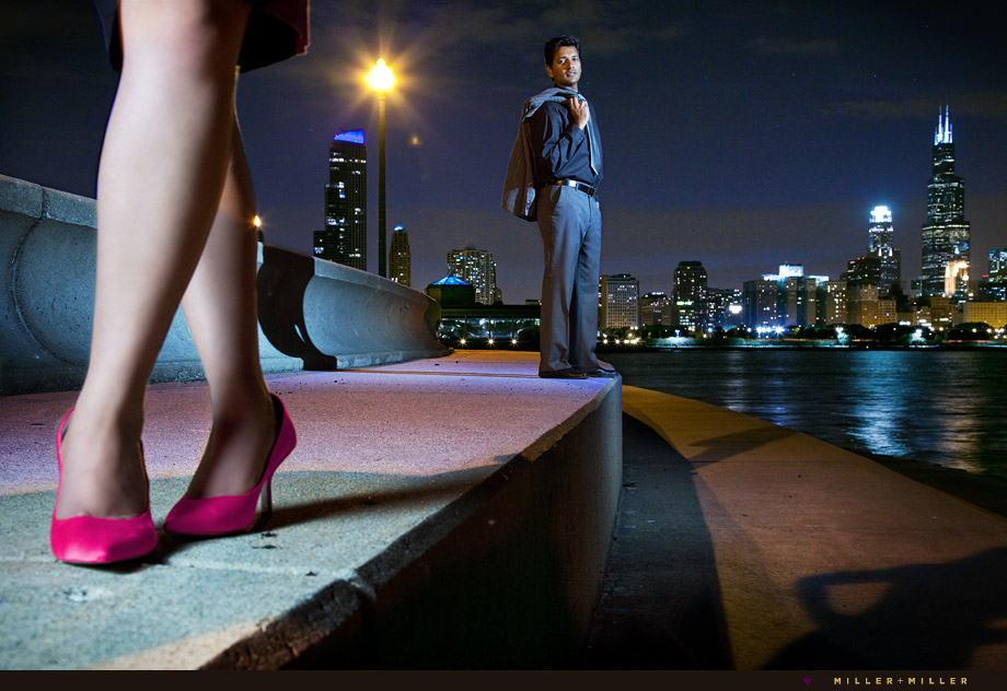 chicago night engagement photos