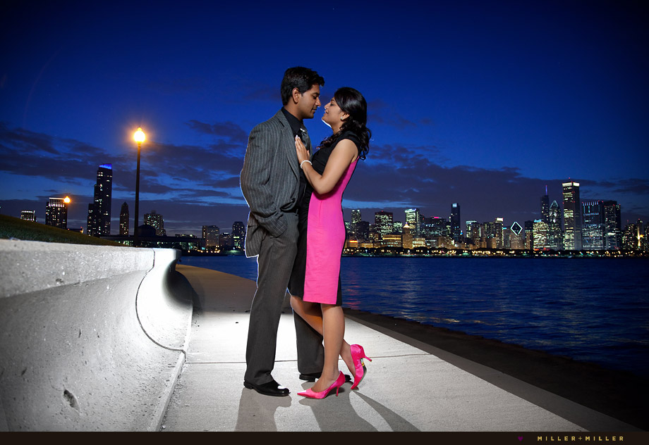 chicago skyline lake night engagement
