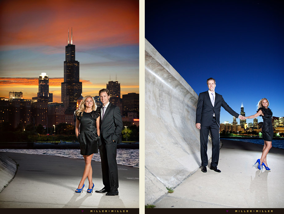 chicago sunset skyline engagement