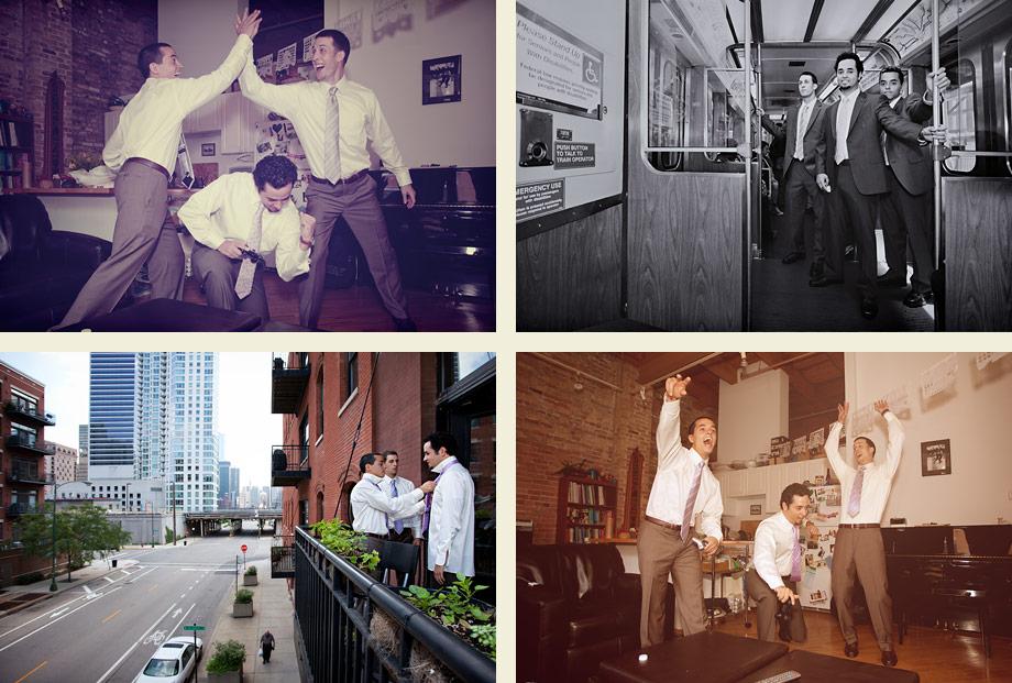 chicago wedding unique groomsmen pictures