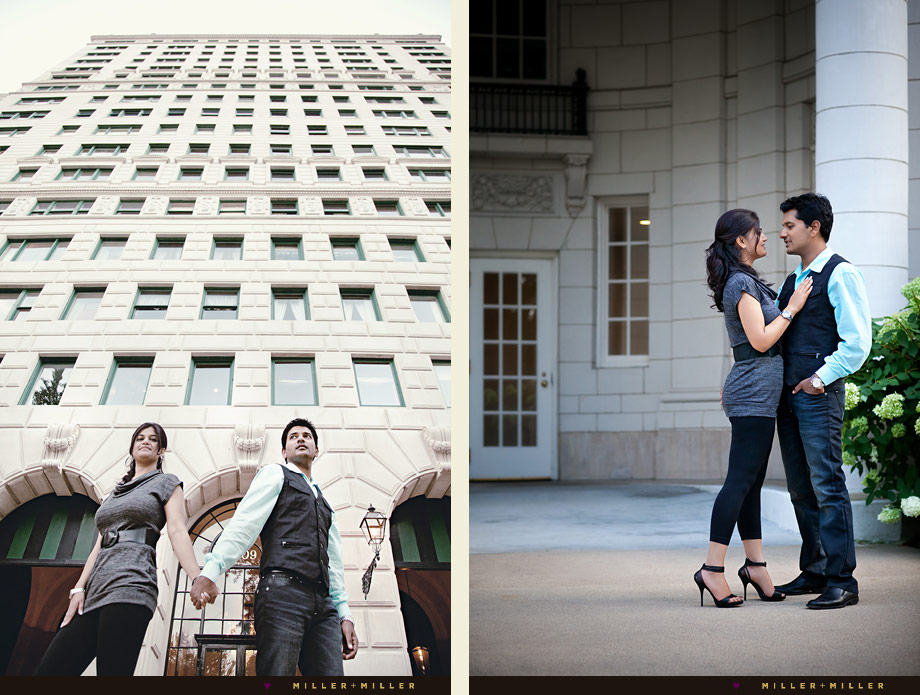 engagement in front of chicago buildings