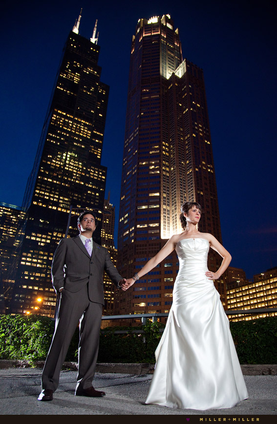 high-fashion chicago wedding skyline