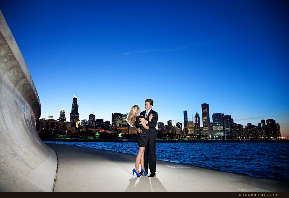 night skyline chicago engagement
