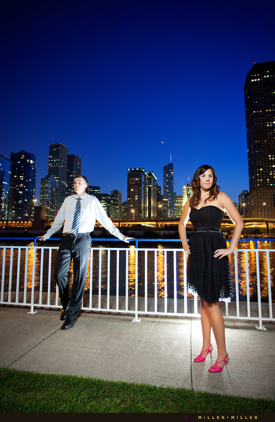 chicago engagement night portraits