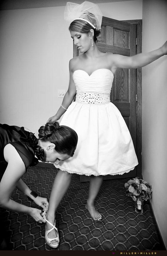 hotel room wedding shoes