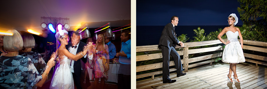 night wedding photos lake michigan