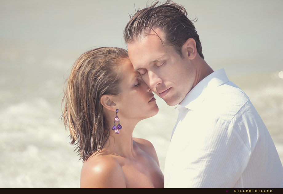 couple on the beach wedding photos