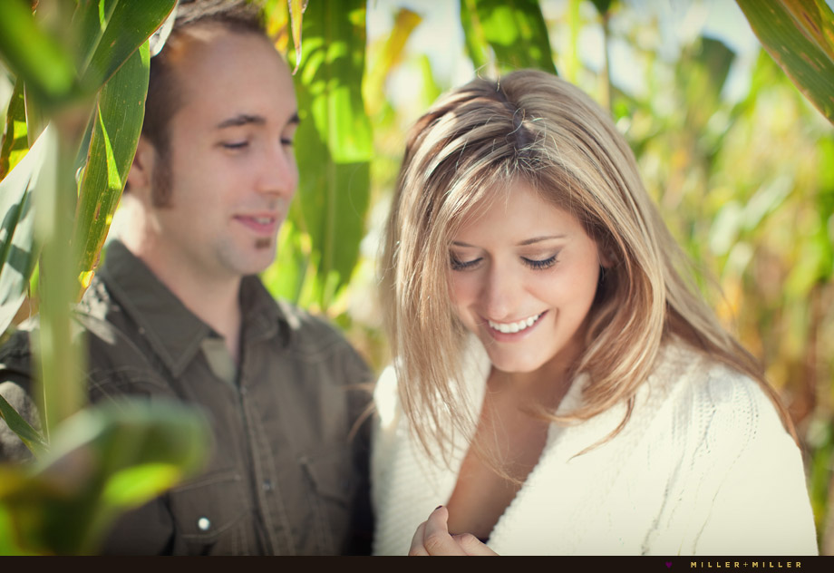 chicago corn maze engagement portraits