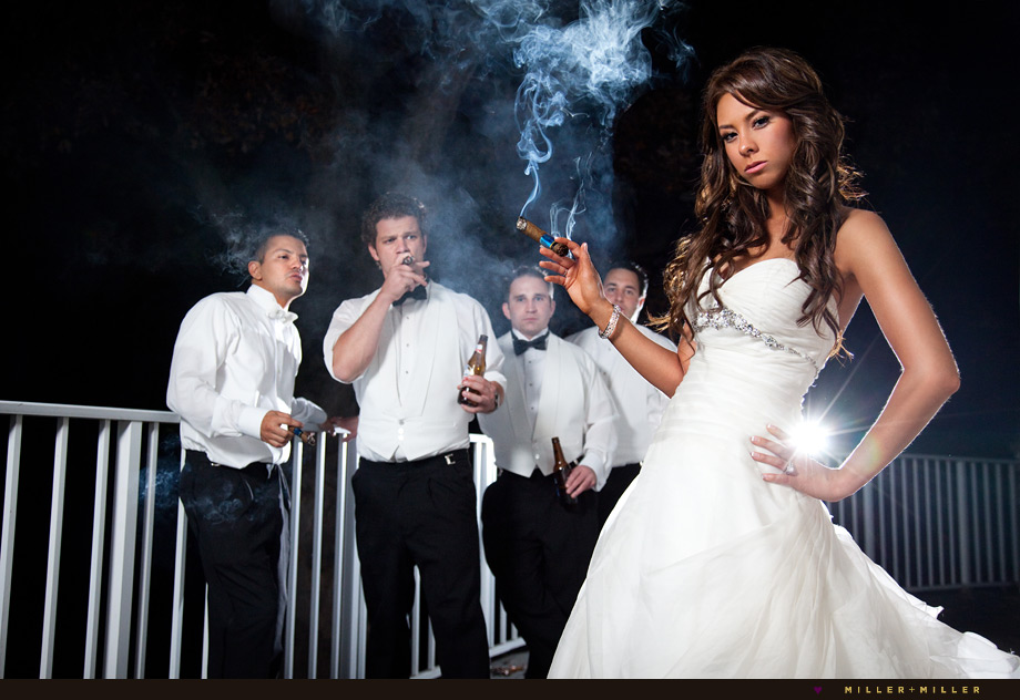bride cigar smoke photo
