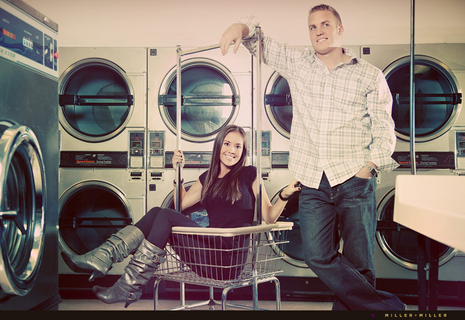 couple in love laundry mat