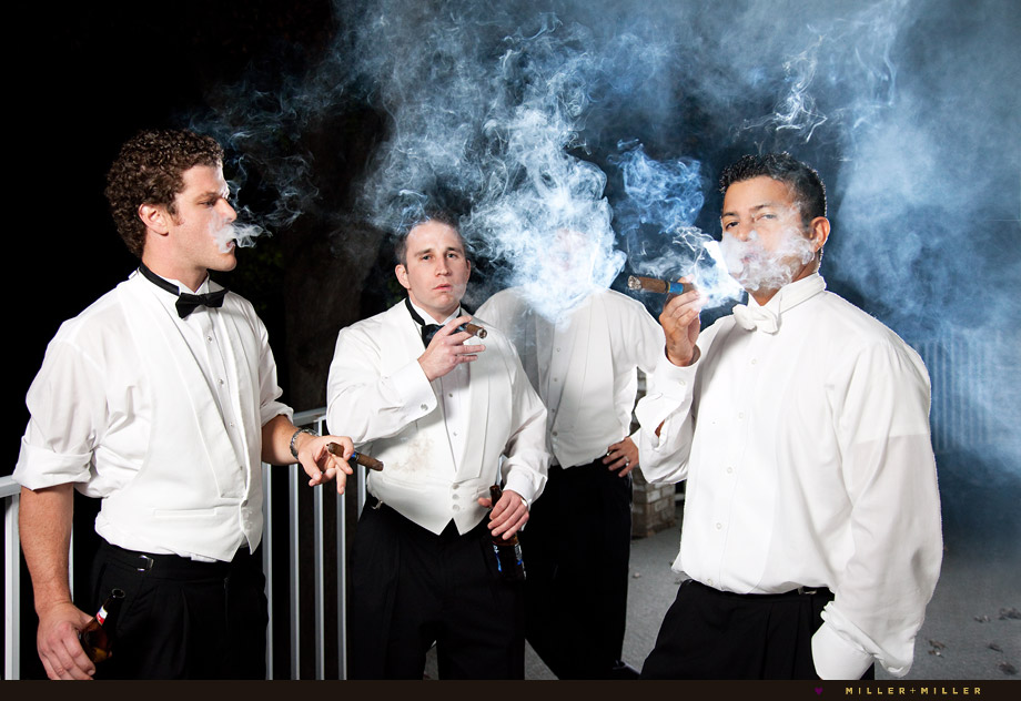 groom smoking cigar photos