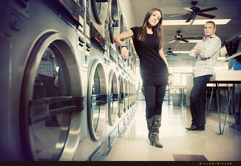 laundry mat high-fashion engagement photography