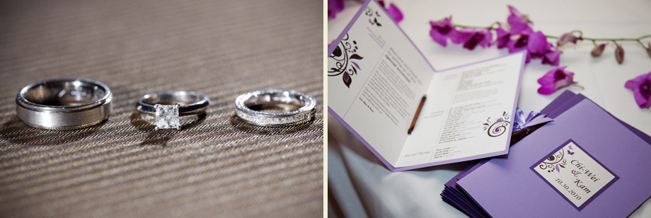 purple modern wedding-programs rings