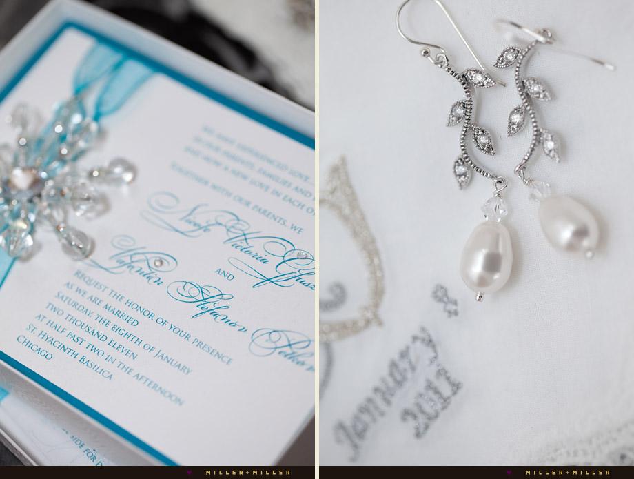 blue metallic winter wedding invitation