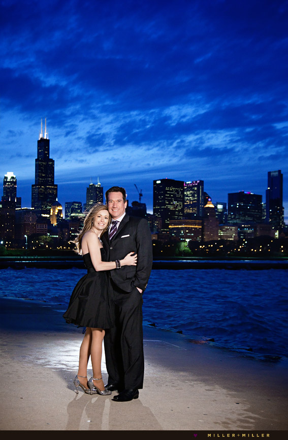 skyline night engagement pictures chicago