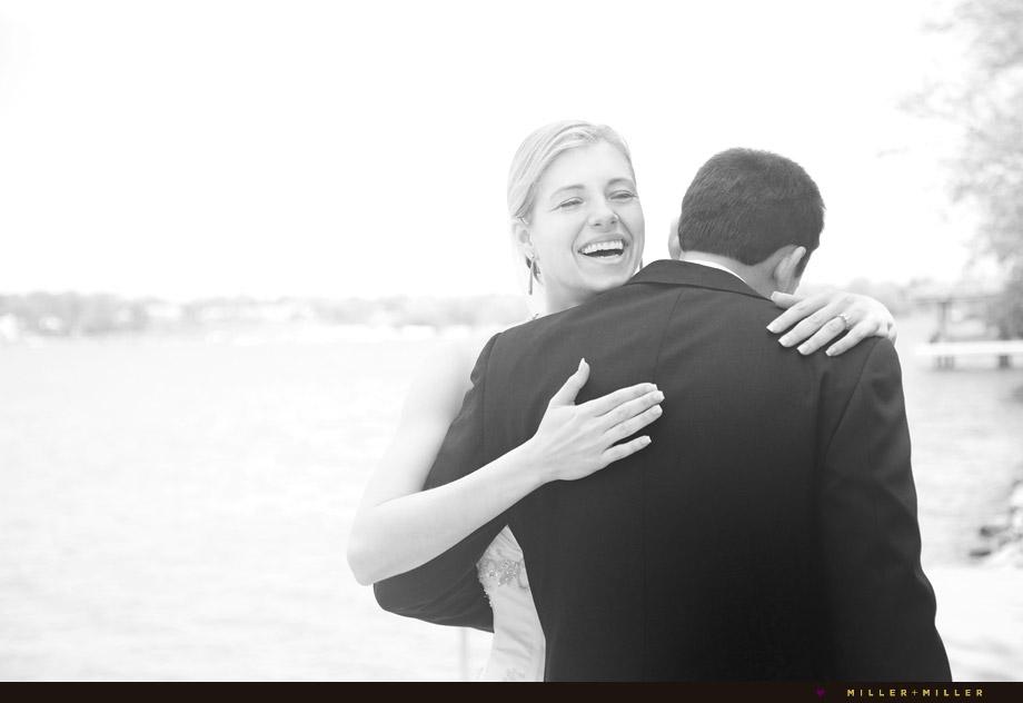 emotional smiling bride