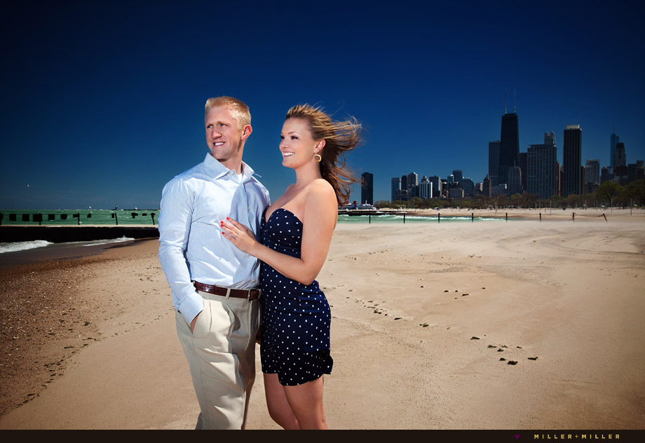 chicago beach engagement photography