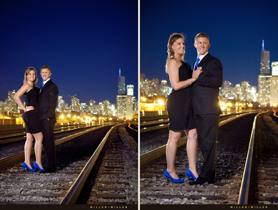 chicago night engagement photography