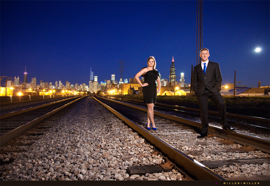 chicago skyline modern engagement photography