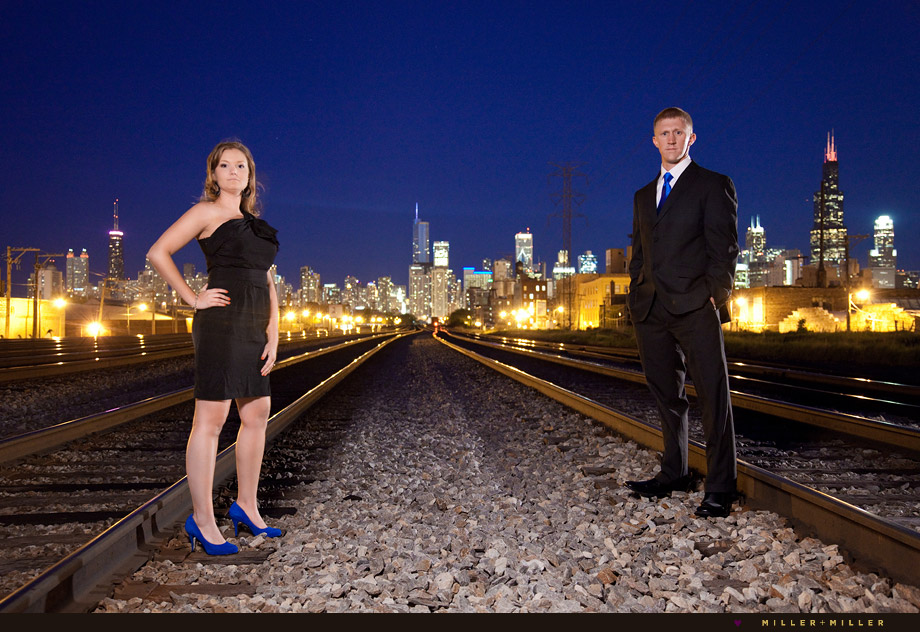 railroad tracks night engagement
