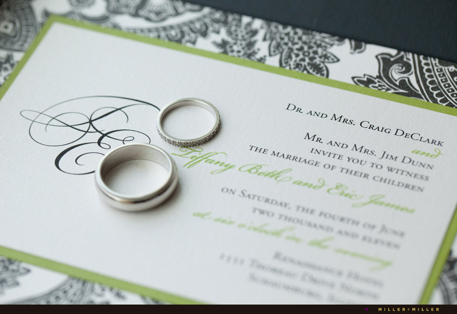 wedding band on elegant invitation rings