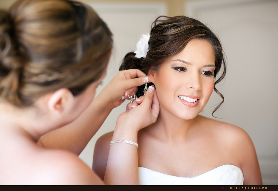 bride dressing earrings