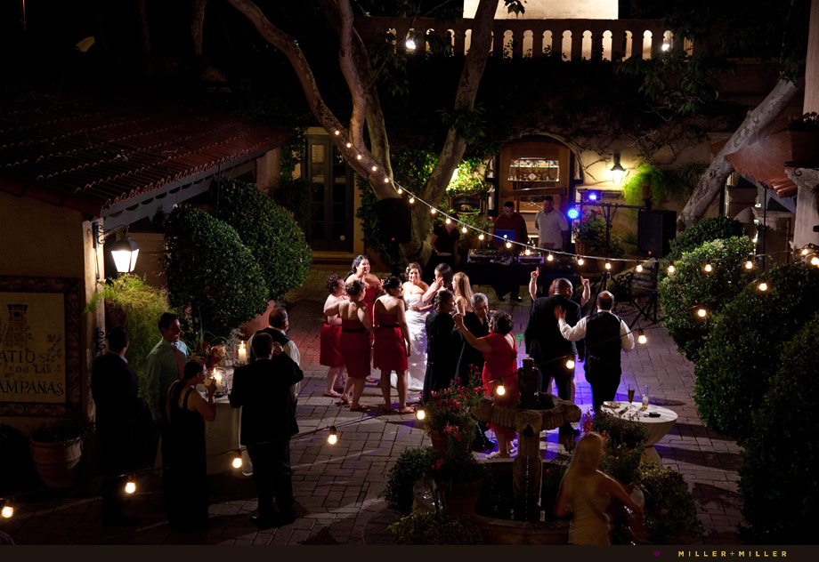 outdoor night reception dancing photography
