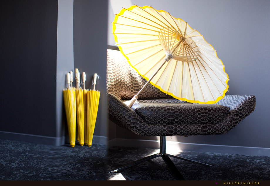 bold canary yellow umbrellas