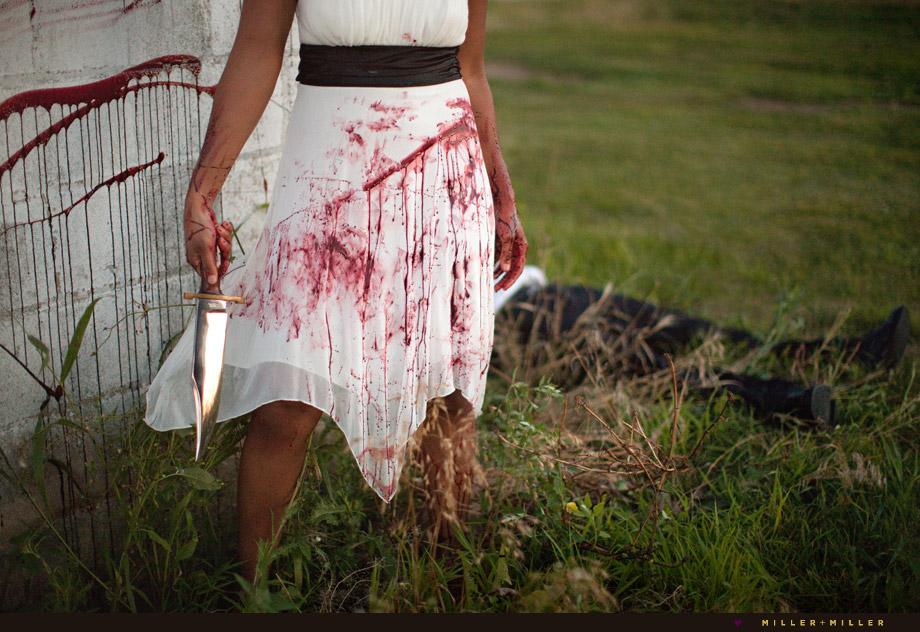 bride bloody dress