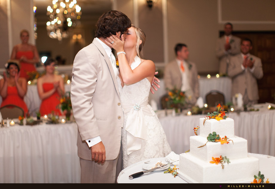 cake cutting kiss photos