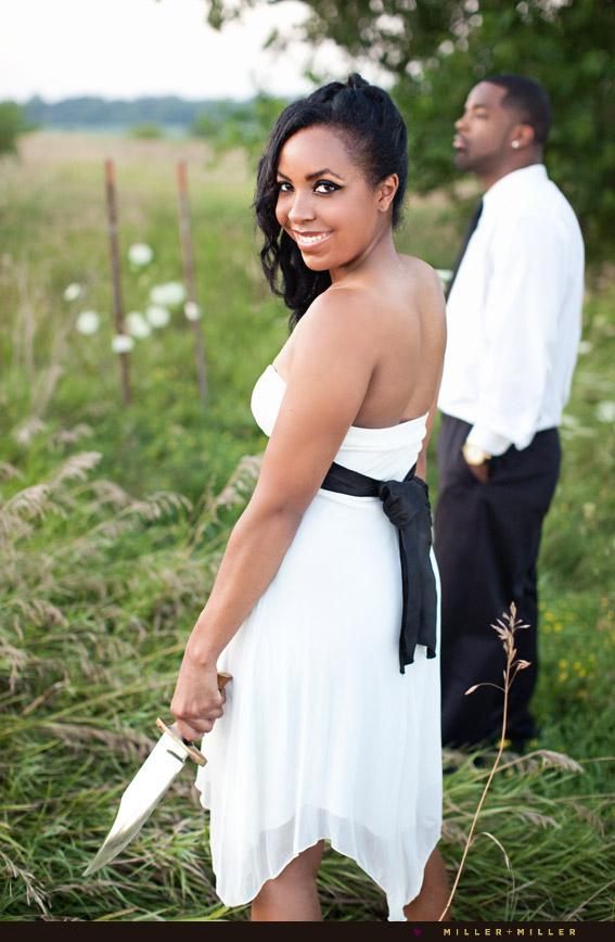 devious bride groom portrait