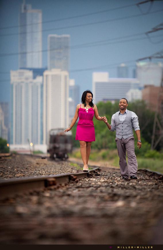 downtown chicago walking railroad tracks