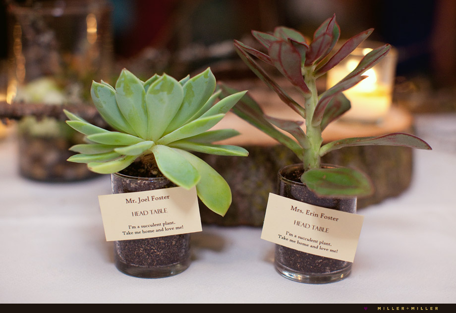 green plants wedding favors