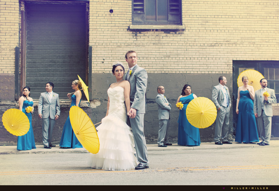 grey yellow blue bridal colors