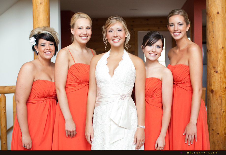 log cabin bride bridesmaids orange
