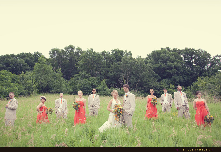 outdoor wedding bridal party photo