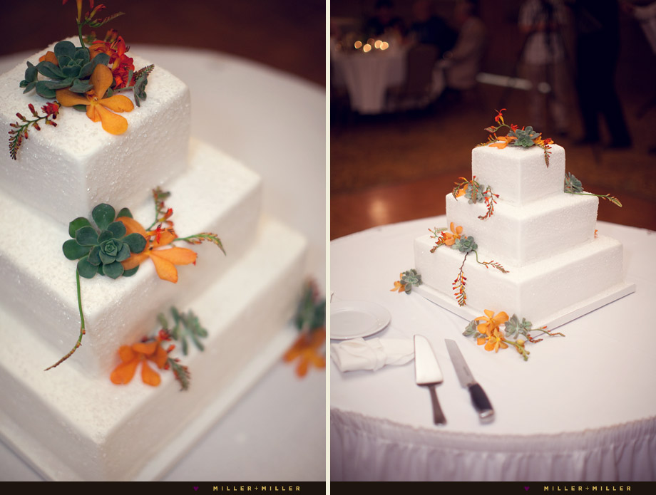 white cake earthy flowers