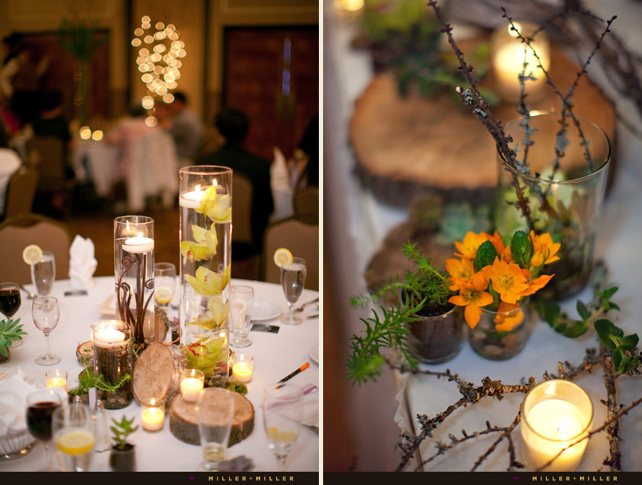 wood branches outdoors reception centerpieces