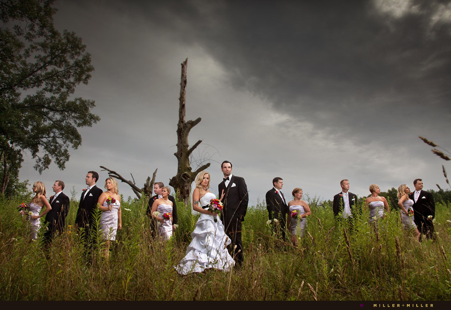 dramatic bridal party group photographs